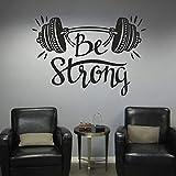 Es una etiqueta de la pared de fitness fuerte dormitorio decoración del hogar levantamiento de pesas ejercicio deportes culturismo fitness vinilo etiqueta de la pared