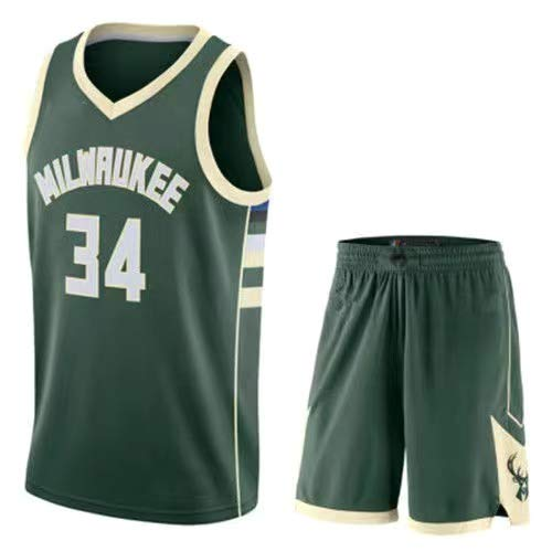 Milwaukee Giannis Jersey Antetokounmpo #34 Baloncesto Bucks Transpirable Secado Rápido Trajes Top+Shorts 1 Set - Verde