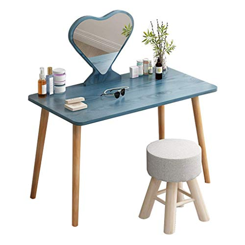 Daily Equipment Liudan Tocador Tocador Tocador Tocador Mesa de maquillaje con espejo HD en forma de corazón y patas de mesa de madera maciza Tocador de maquillaje Regalo para mujeres y niñas Juego