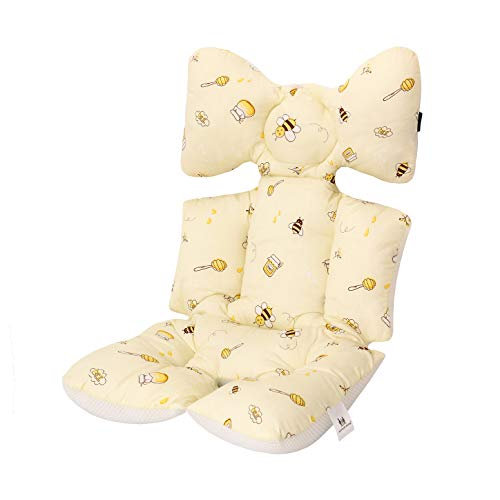 Miracle Baby Cojín Carro Bebe,Colchoneta Silla Paseo Universal,Colchoneta Silla Paseo Transpirable 100% Algodón,Colchoneta Silla Bebe Uso de Doble Cara para Bebe,70 * 38cm,abeja