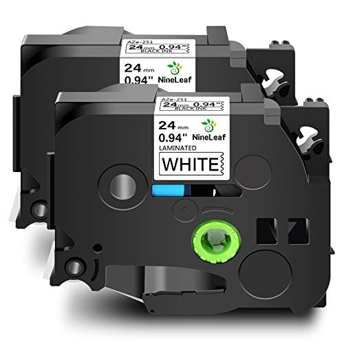 NineLeaf 2 Roll Label Tape Replacement Compatible for Brother TZe-251 TZe251 TZ-251 TZ251 Laminated use for P-Touch D600 2430PC PT-P750W PT-E550WVP Label Marker (24mm x 8m Black on White)