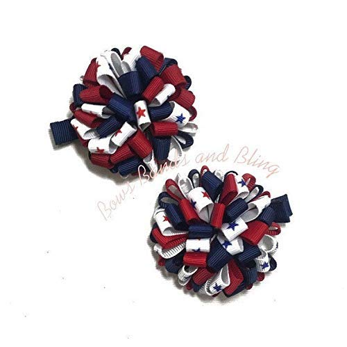 Lot 2 Red /& White Stars July 4th Dainty Pigtail Hair Bows Set Baby Toddler Cute