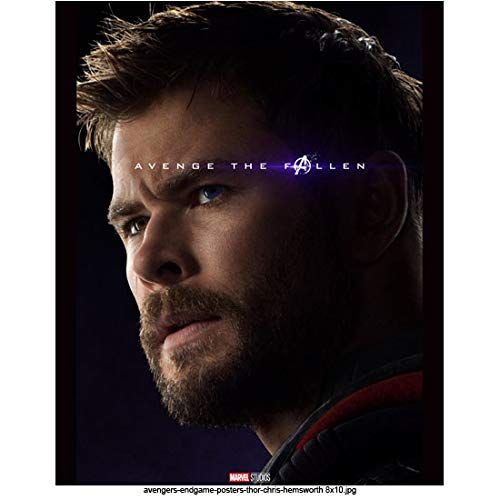 Chris Hemsworth 8 Inch x 10 Inch photograph Avengers: Endgame (2019) Head Shot w/Blue Background'Avenge the Fallen' Pose 2 kn