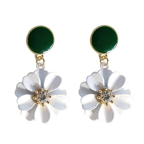 ZHOUBA Pendientes de moda para mujer con diamantes de imitación de flores colgantes para el oído, pendientes de gota para fiesta de regalo - blanco