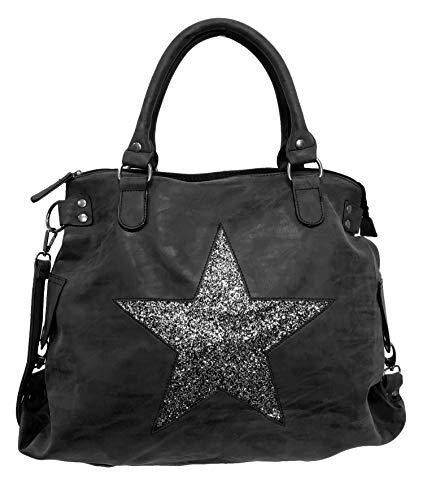 Stern Glitzer Damen Tasche Star Fashion Shopper Henkeltasche Glanz Style Bag (Schwarz Grau)