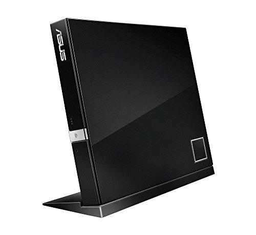 Asus SBW-06D2X-U externer Slim Blu-Ray BDXL Brenner (6x BD-R (SL/DL), 8x DVD±R, 6x DVD±R DL, 5x DVD-RAM, USB 2.0) inkl. Cyberlink Power2Go, Hochglanz Schwarz