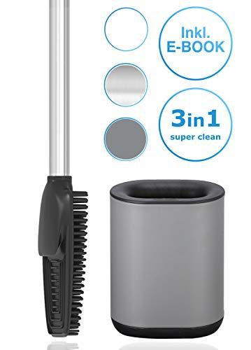 arteneur® - 3in1 Toilettenbürste aus Silikon mit WC Bürsten Halter, Langer Stiel aus Edelstahl & Hygienisch mit Lamellen und Schaber - Toilettenbürstengarnitur für Badezimmer & Gäste-WC (Grau)