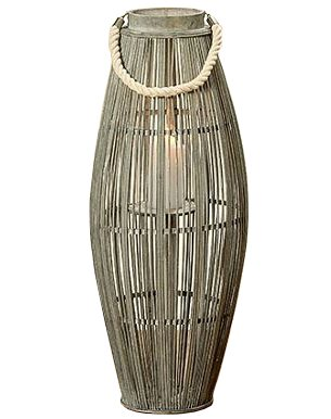 Home Collection Bambus Windlicht Laterne grau H75cm