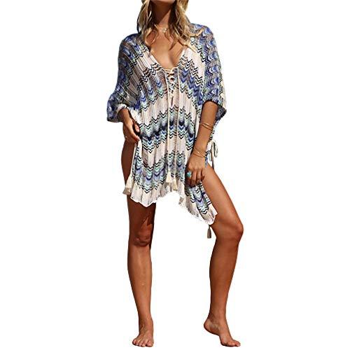 Ai.Moichien Femmes Blouses De Plage Creux Colorblock Lâche Casual Bikini Maillots De Bain Bleu Clair Taille Unique