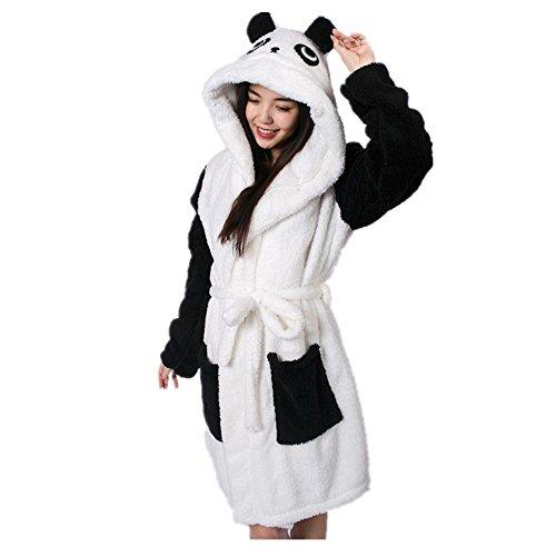 Colorfulworld Damen Bademantel Tier Karikatur Kapuze Bademäntel Morgenmäntel Nachtwäsche Cosplay Kostüm Pyjama (Panda, M)