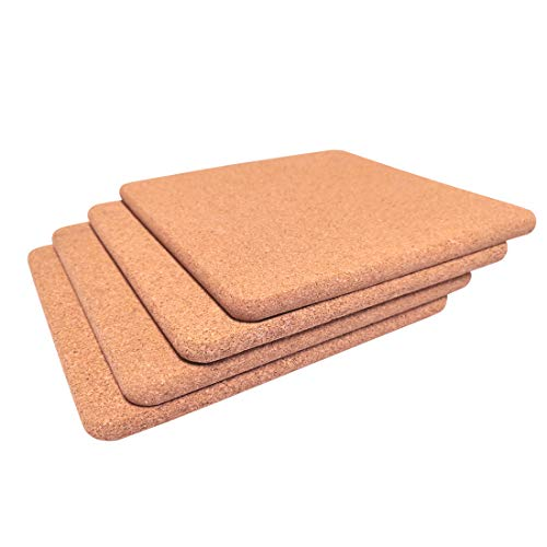 Cork Trivet Square Kitchen Hot Pads Placemat Corkboard for Hot Pot, Pan,Kettle,7-Inch Each(18cm x1cm), Pack of 4