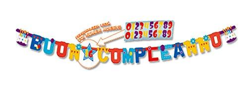 Bigiemmee Buon verjaardagskaart XL personaliseerbaar met stickers 250 x 15 cm, meerkleurig, 5IT29051