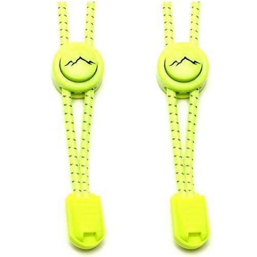 gipfelsport Elastische Schnürsenkel mit Schnellverschluss - Gummi Schnellschnürsystem ohne Binden | Schnürsystem für Kinder, Herren, Damen I 1x Paar: neon-gelb