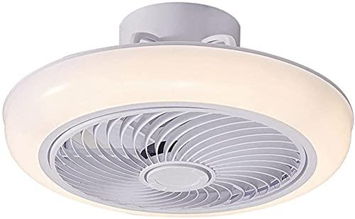 Ventilador de Techo Moderno LED con luz Control Remoto Ventilador silencioso Regulable con Rueda de guía de Viento Ventilador de sincronización Inteligente 3 velocidades Ajustable 45 cm