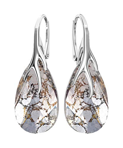 Crystals & Stones *MANDEL* 22 mm *Farben Varianten* Schön 925 Silber Ohrringe Damen Ohrhänger mit Kristallen von Swarovski Elements - Wunderbare Ohrringe mit Geschenkbox BA/39 (Rose Patina)
