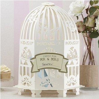 Geldbox / Briefbox cremefarben Vogelkäfig im Vintage Style - ideal für Kuverts, Hochzeitskarten & Geldgeschenke zu Ihrer Hochzeit