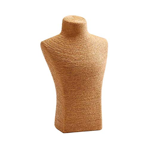 Collar Expositor De Joyas Busto Arpillera Soporte De Collar para Collares Llamativos, Colgantes De Una Sola Hebra, Collares De Gargantilla, Soporte De Maniquí De Exhibición De Cadena