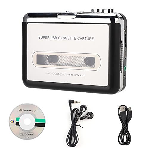 Lettore di Cassette, Convertitore di Nastri USB in MP3 Audio Music Player con Auricolari, Compatibile con Laptop e Personal Computer