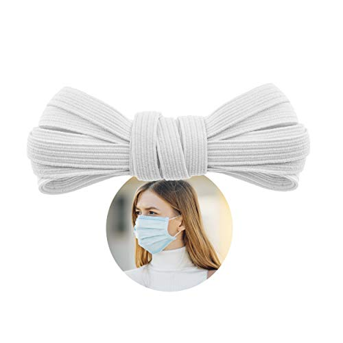 Elastic Band for Sewing - 1/4' (6.5mm) Heavy Stretch Flat Bungee - Arts and Crafts, DIY Face Masks - Knit Braided Cord - Stretchy String for Earloop - 5 Yards (White), by Adolfo Designs
