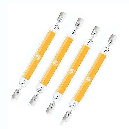 Lámpara LED R7s de 4 piezas, 10 W, bombilla LED Cob, AC220 V, 1000LM, bombilla LED sin parpadeo Lámpara halógena de 100 W de repuesto R7s, 360 °;Ángulo de haz para luces de paisaje Luces de seguridad