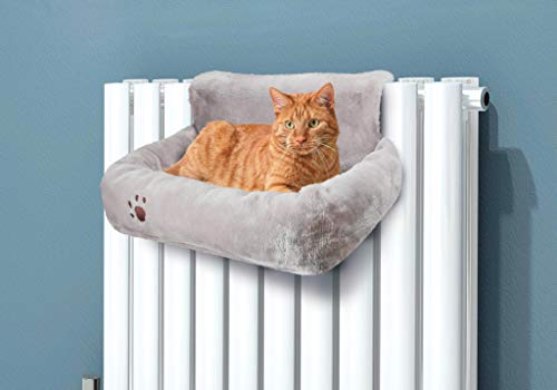 ADEPTNA Premium Super Soft Cuddly Hanging Cushion Pet Cat Radiator Plush Bed with Strong Durable Frame to Hook on Radiator – Ideal for all Cats Kittens up to 10kgs – Keep your Pet Warm and Cosy