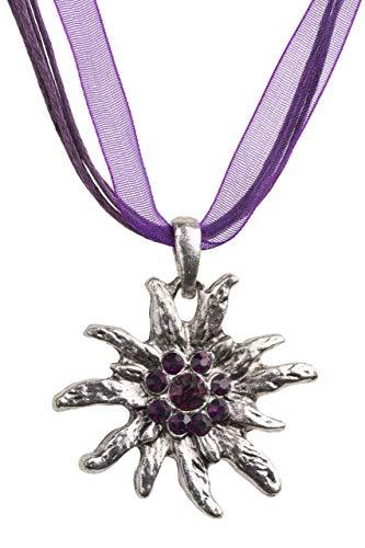 Trachtenkette Edelweiss Trachtenschmuck - Trachten Kette mit feinem Strass in div. Farben - Halskette für Dirndl und Lederhosen (Flieder)