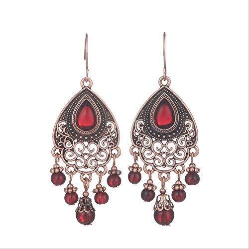 Boucles d'oreille pour les femmes Vintage luxe Goldn gland boucles d'oreilles pour les femmes à la main Boho résine cristal perles boucle d' oreille de mariée femme déclaration E022416