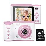 Cámara para Niños, Cámara Dual Digital Creativa de 8.0 Megapíxeles, Videocámara Recargable para Niños con Pantalla Táctil de 2.8, Zoom Digital 4X, Regalo Niños de 3 a 12 Años (Tarjeta SD de 16 GB)