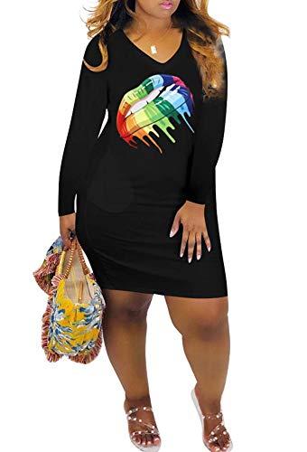 Womens African Rainbow Lip Print Lesbian Pride V Neck Long Sleeve Midi Dress Black