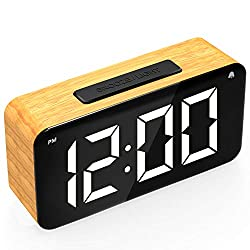 FILITABA Digital Alarm Clock, 6'' LED Screen Display, Wood Grain, 6 Brightness, Snooze, 12/24H, Easy Digital Clock with Adapter for Kids and Adults, Alarm Clocks for Bedrooms, Office, Desk