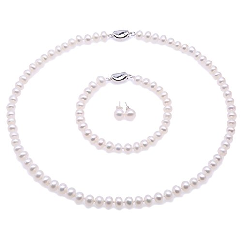 JYX Perlenkette weiß Suesswasser Perlenkette Perlen Damen Schmuck Set Schmuckset Silber 925 Damen- ...