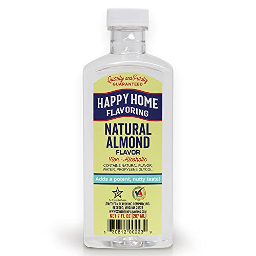 Happy Home Natural Almond Flavoring, Non-Alcoholic, Certified Kosher, 7 oz.