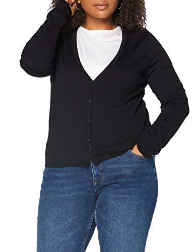Amazon-Marke: MERAKI Baumwoll-Strickjacke Damen mit V-Ausschnitt, Schwarz (Black), 46, Label: 3XL