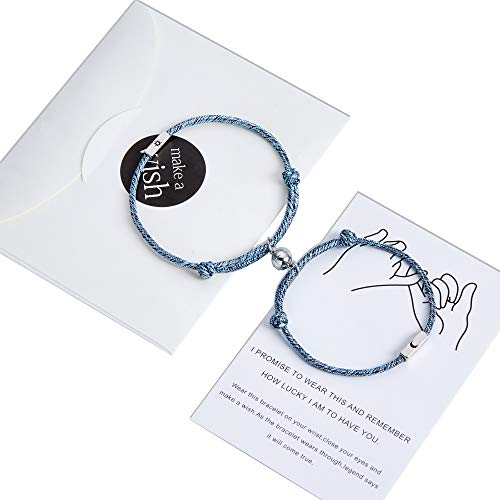 Pinky Promise Magnetic Couples Bracelets for Boyfriend Girlfriend Gifts Long Distance Relationships Matching Bracelets for Him and Her