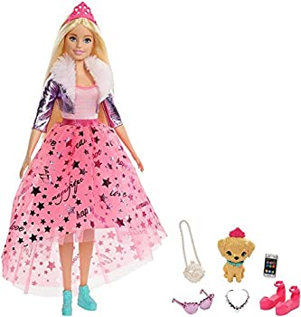 Barbie Princess Adventure Doll in Princess Fashion  12-in Blonde  Barbie Doll with Pet Puppy 2 Pairs of Shoes Tiara and 4 Accessories for 3 to 7 Year Olds