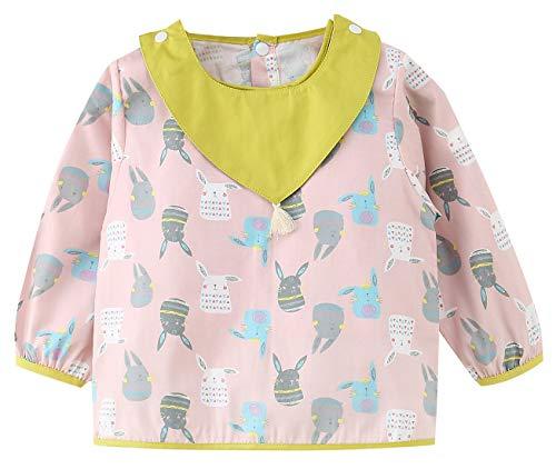 PanPan Tree - Babero Alimento Bebes de Algodón Delantal Infantiles para Pintar Guardería con Toalla de Saliva Desmontable Conejos para Niños de 3 Años