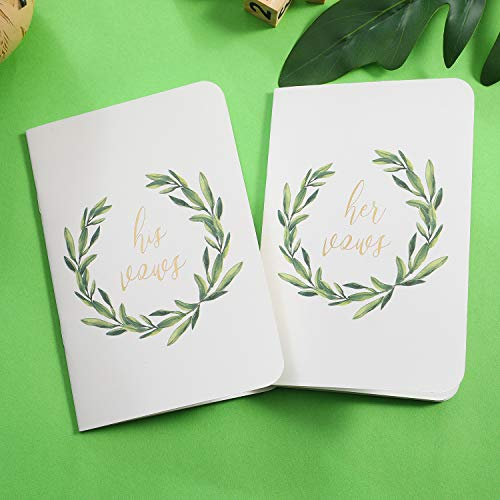 AKITSUMA Wedding Vow Books, His and Her Vow Book, Set of 2, White, US-AKI-29