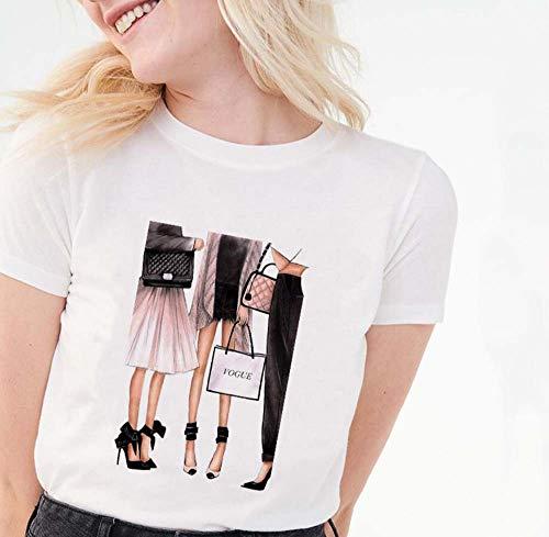 LYJNBB Vogue Camiseta para Mujer, de Manga Corta de Cuello Redondo suéter tee, Original de la impresión S-XXL, Mejor Amigo Vestir de Las Tapas,5,L