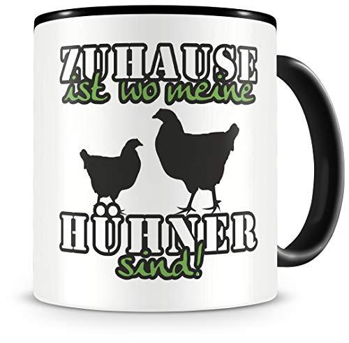 Samunshi® Hühner Tasse mit Spruch Zuhause ist Hühner Geschenk für Hühner Fans Kaffeetasse groß Lustige Tassen zum Geburtstag schwarz 300ml