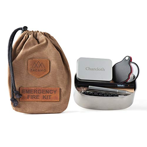 TACAMO 15-Piece Emergency Fire Making Kit, w/ Premium Waxed Canvas Storage Bag. Includes Multiple Fire Starting Systems and Emergency Tinder Sources. Perfect for Camping, Hiking, and Bug-Out Bags.