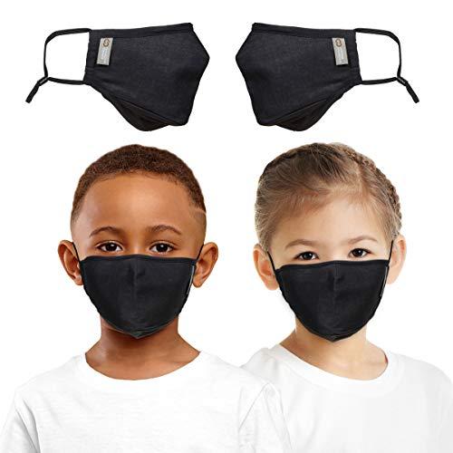 Copper Compression Face Mask for Kids- Highest Copper Content Reusable Face Masks For Boys and Girls - Set of 2 (Black)