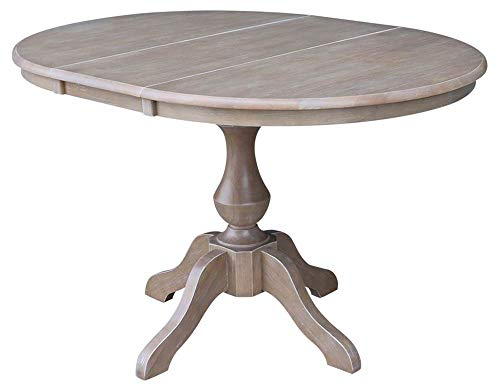 International Concepts 36' Round Top Pedestal Table with 12' Leaf-28.9' H-Dining Height, Washed Gray Taupe