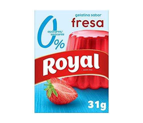Royal Gelatina en Polvo Sabor Fresa con Vitamina C, 0% Azúcares 10 Raciones, 31g