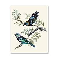 LMAGGG かわいい鳥のキャンバスプリントヴィンテージイラストポスター鳥の壁アートキャンバス絵画リビングルームの装飾のための50x70cmフレームなし