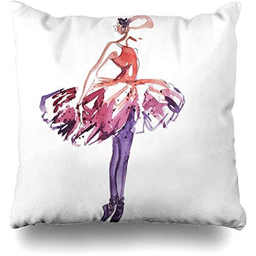 SSHELEY Kussensloop Kussensloop Tekening Ballet Ballerina Rood Elegantie Danser Schets Dans Pose Kussensloop