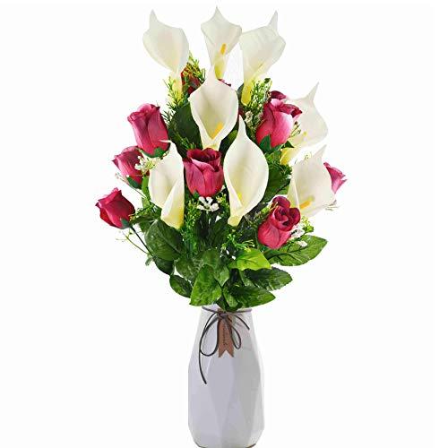 xunniu Fiori Artificiali Fiori Finti Bouquet di Simulazione di Rosa Giglio di Calla Artificiale Bouquet di Plastica 24 Pezzi Tavolo da Pranzo Casa All'Aperto Matrimonio Cimitero Bouquet(Viola)