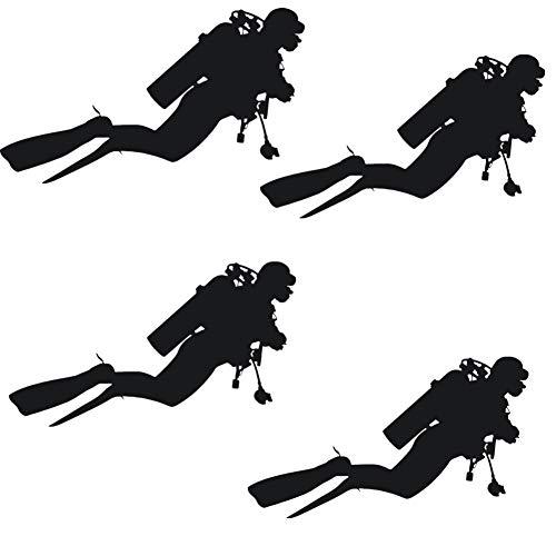 Fully 4stk. Auto Aufkleber Taucher Diver Tauchen Schwimmen Schnorcheln Sticker Wasser Wassersport (schwarz, Jungen)
