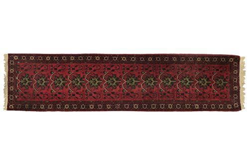 Afghan Mazar - Alfombra (339 x 80 cm, 80 x 340 cm), color rojo