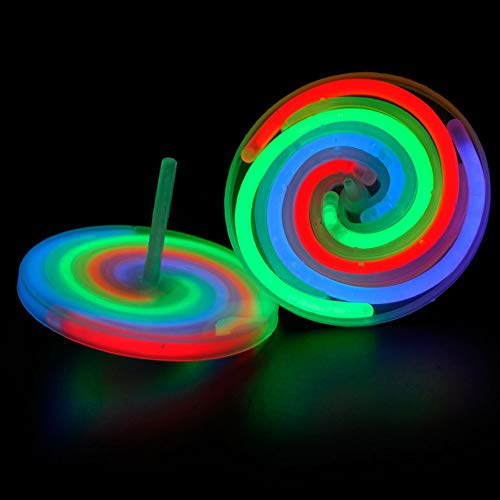 Review JUZIPI Spinning Top Light Up Toys Pack of 4 for Kids and Adults Longlasting