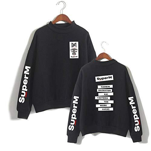 NCTCITY SuperM Pullover mit Hohem Kragen KPOP Brief Drucken Sweatshirts Bequeme Warme Rundhals Sweater Tops für Fans Männer und Frauen Taemin Kai Baekhyun Mark TAEYONG Ten Lucas
